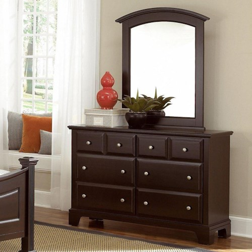 Vaughan Bassett Hamilton/Franklin Dresser - 6 Drawers & Mirror