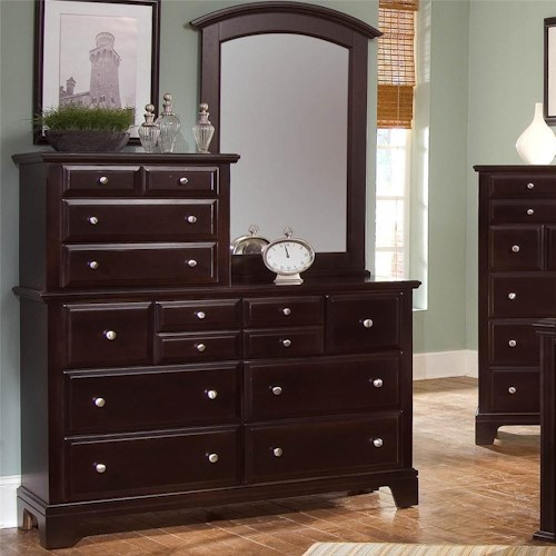 Vaughan Bassett Hamilton 10 Drawer Dresser with Vertical Mirror