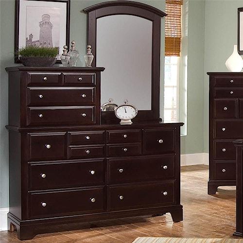 Vaughan Bassett Hamilton/Franklin 10 Drawer Dresser with Vertical Mirror