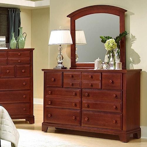 Vaughan Bassett Hamilton/Franklin Triple Dresser with Rectangular Mirror