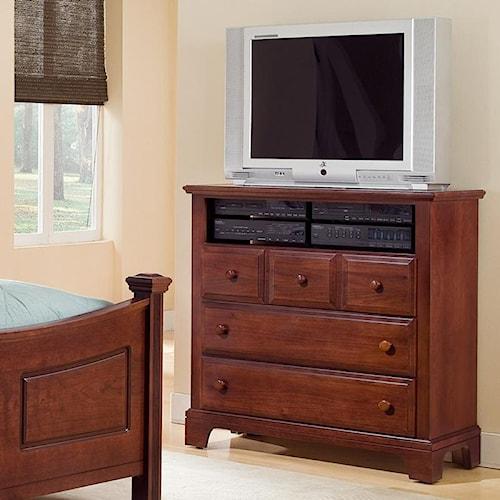 Vaughan Bassett Hamilton/Franklin Media Cabinet with 3 Drawers & 1 Open Shelf