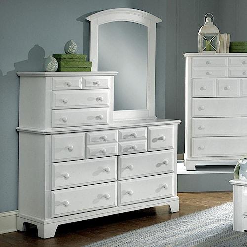 Vaughan Bassett Hamilton Franklin 10 Drawer Dresser with Vertical Mirror
