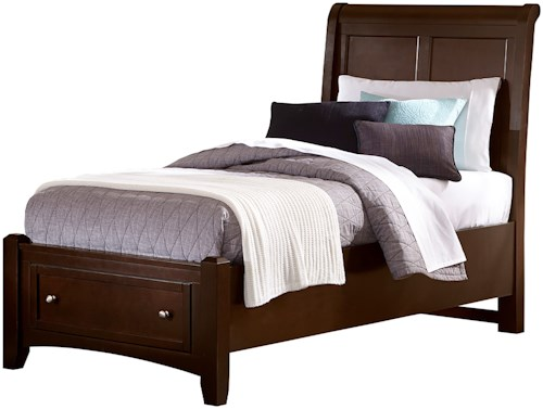 Vaughan Bassett Bonanza Twin Sleigh Storage Bed with 1 Drawer
