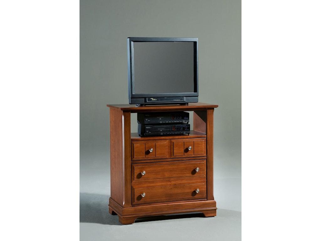 Vaughan Bassett CottageMedia Cabinet - 2 Drawers, Open Shelf