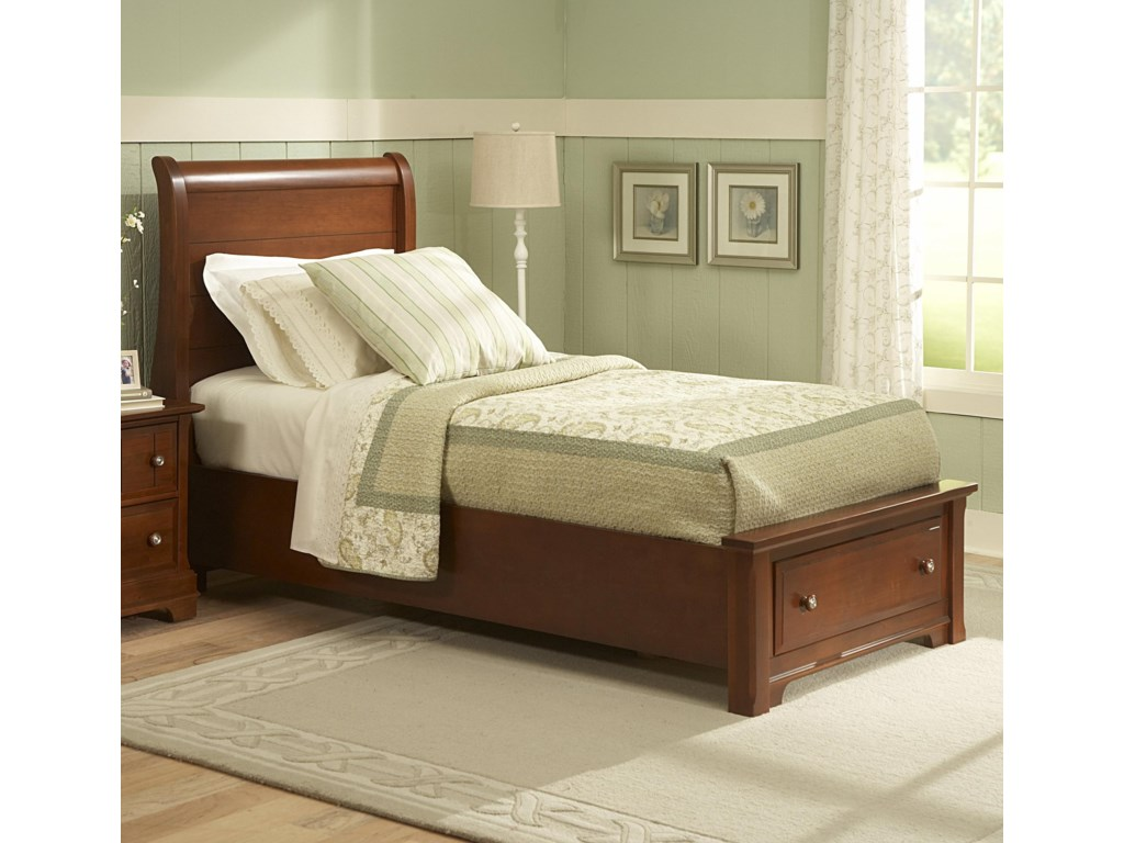 Twin Size Shown. Queen Size Has 2 Footboard Drawers.