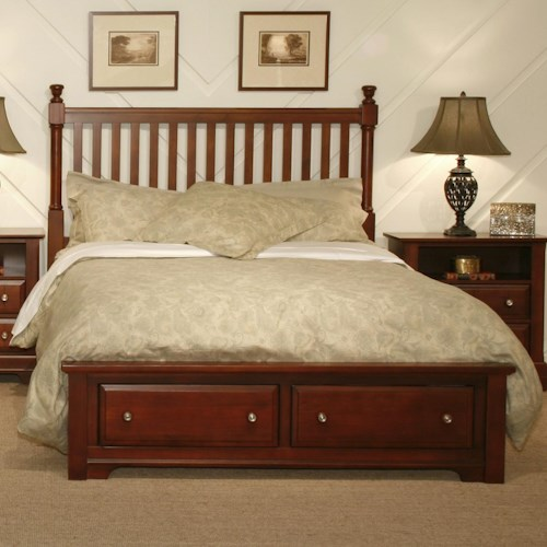 Vaughan Bassett Cottage Twin Slat Storage Bed with 1 Footboard Drawer