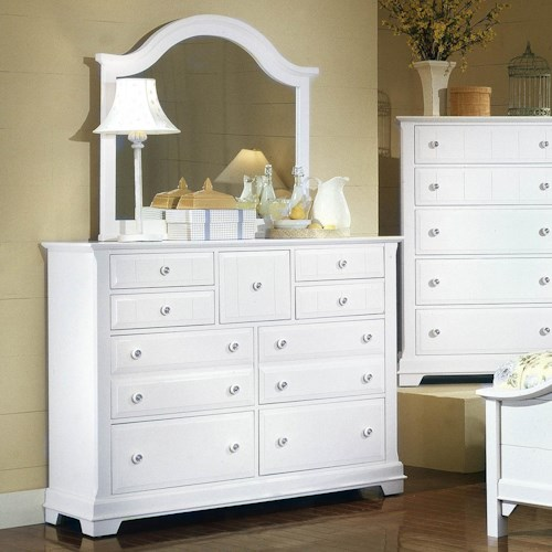 Vaughan Bassett Cottage Triple Dresser and Mirror