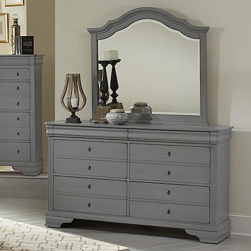 Vaughan Bassett French Market Dresser & Arched Mirror