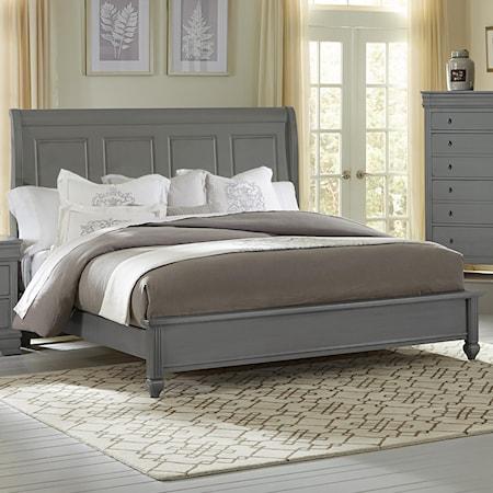 Queen Bed w/ Sleigh Headboard & Low Ftbd