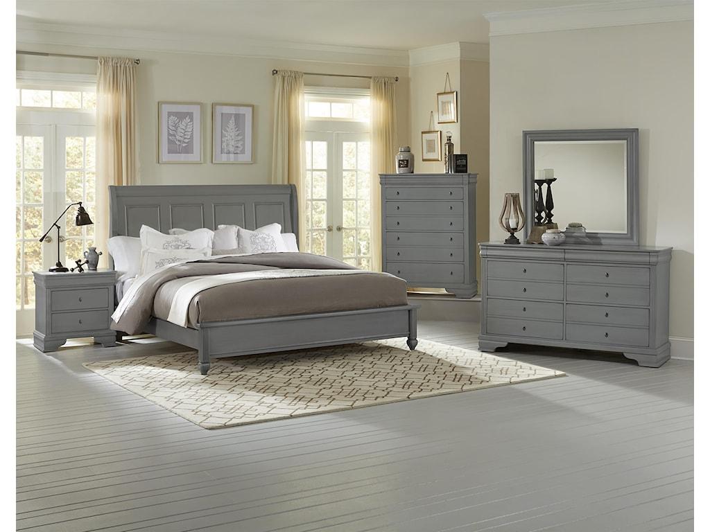 Vaughan Bassett French MarketQueen Bed w/ Sleigh Headboard & Low Ftbd
