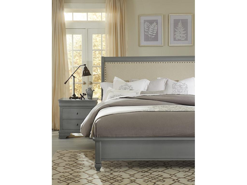Vaughan Bassett French MarketQueen Bed w/ Upholstered Headboard