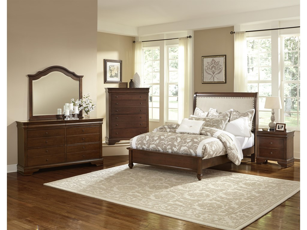 Vaughan Bassett French MarketTwin Bed w/ Upholstered Headboard
