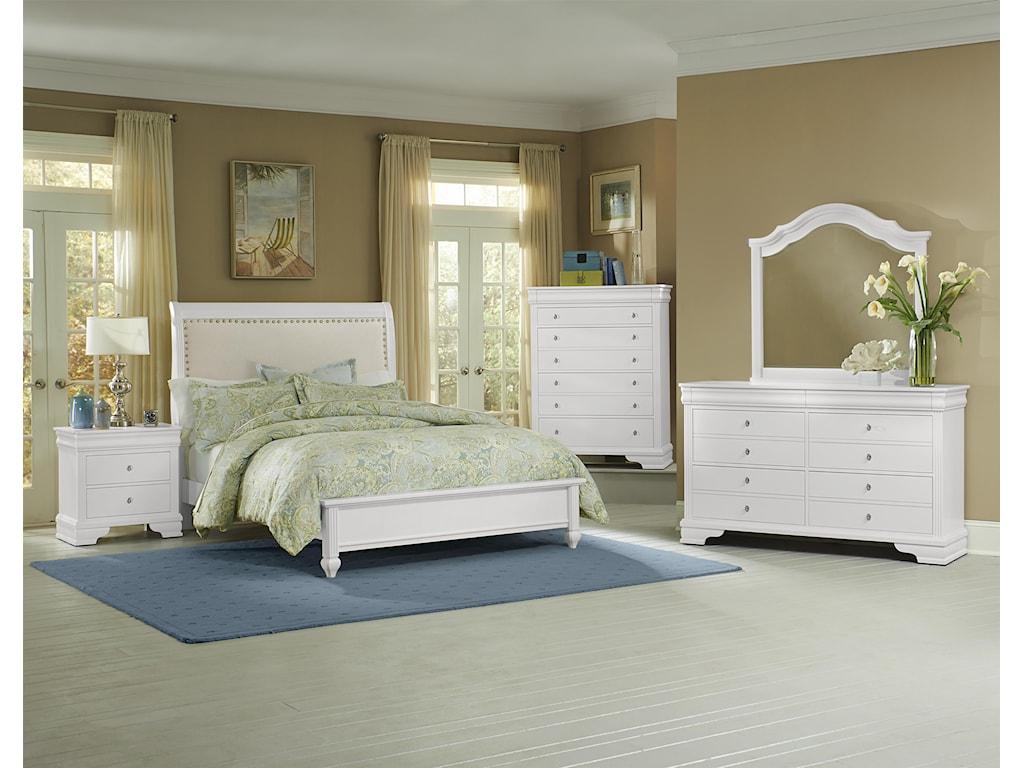 Vaughan Bassett French MarketKing Bed w/ Upholstered Headboard