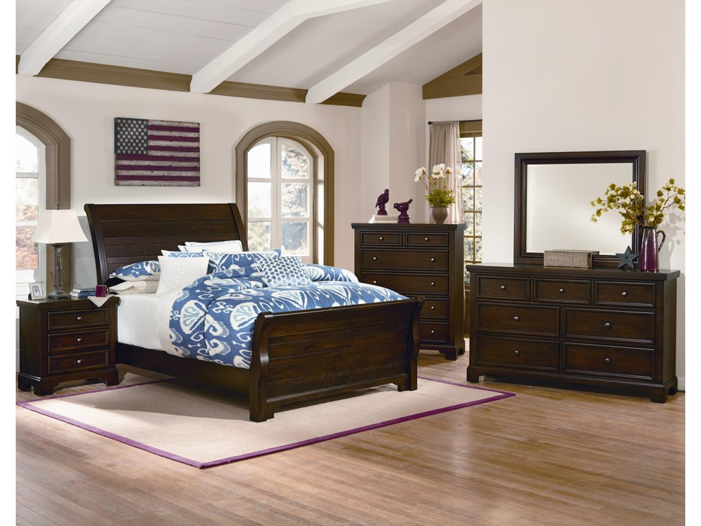 Shown with Sleigh Bed, Nightstand, Chest and Landscape Mirror.