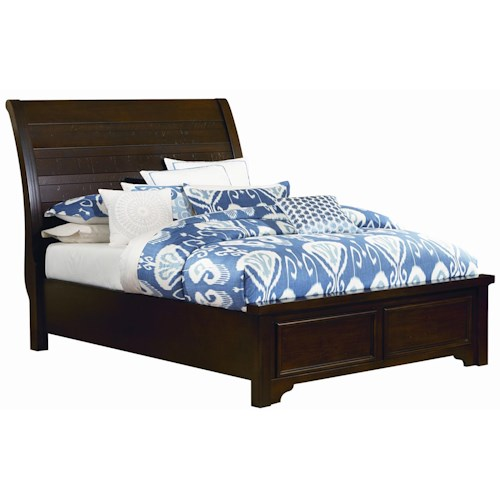 Vaughan Bassett Hanover Queen Sleigh Low Profile Bed w/ Plank Style Headboard