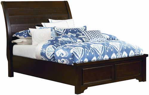 Vaughan Bassett Hanover King Sleigh Low Profile Bed w/ Plank Style Headboard