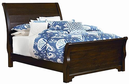 Vaughan Bassett Hanover Distressed Queen Sleigh Bed w/ Footboard