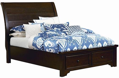 Vaughan Bassett Hanover Queen Sleigh Storage Bed w/ Low Profile Footboard