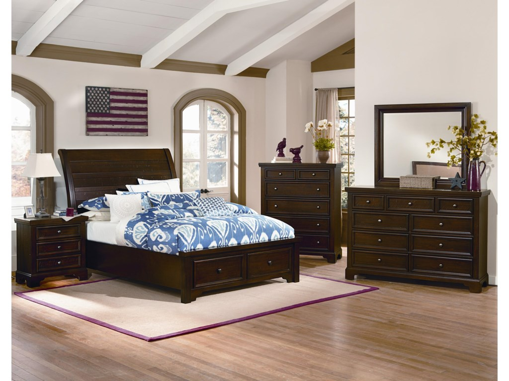 Vaughan Bassett HanoverQueen Sleigh Strorage Bed