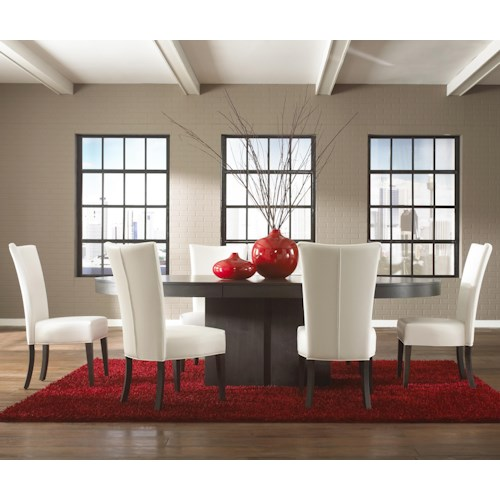 Canadel Custom Dining Contemporary Customizable Oval Table with Pedestal Set