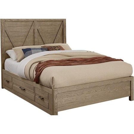 QUEEN V PANEL BED With Drawers 2 SIDE