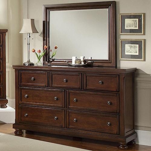 Vaughan Bassett Reflections 7 Drawer Dresser and Mirror Combination
