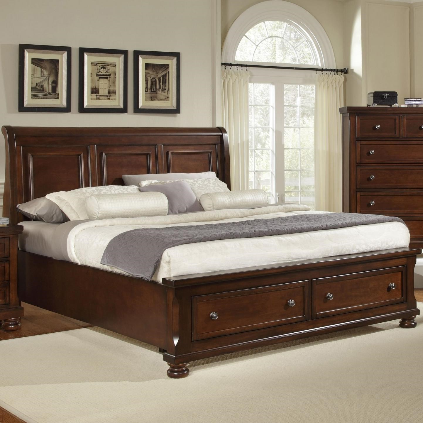 vaughan bassett reflections king storage bed with sleigh headboard great american home store platform bedslow profile beds