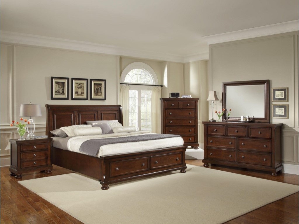 Vaughan Bassett ReflectionsQueen Storage Bed with Sleigh Headboard