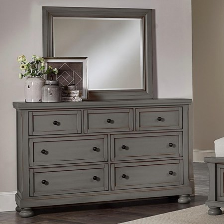 7 Drawer Dresser and Mirror Combination