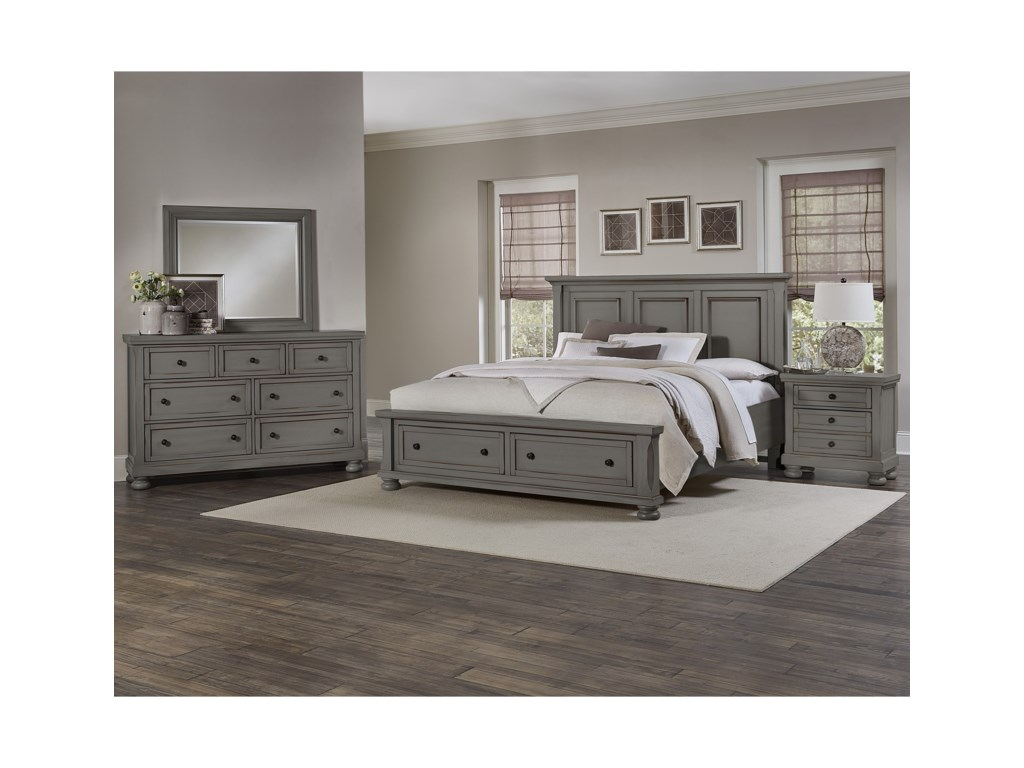 Vaughan Bassett ReflectionsQueen Storage Bed with Mansion Headboard