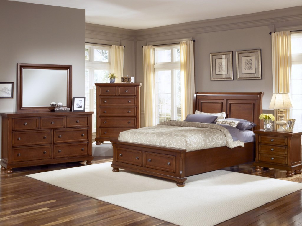 Vaughan Bassett ReflectionsKing Storage Bed with Sleigh Headboard