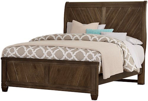 Vaughan Bassett Rustic Cottage Rustic King Sleigh Bed with Wine Barrel Inspired Panels