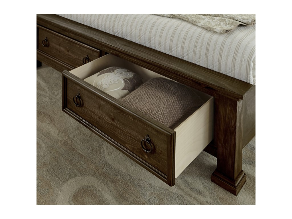 Vaughan Bassett Rustic HillsKing Sleigh Bed with Storage Footboard