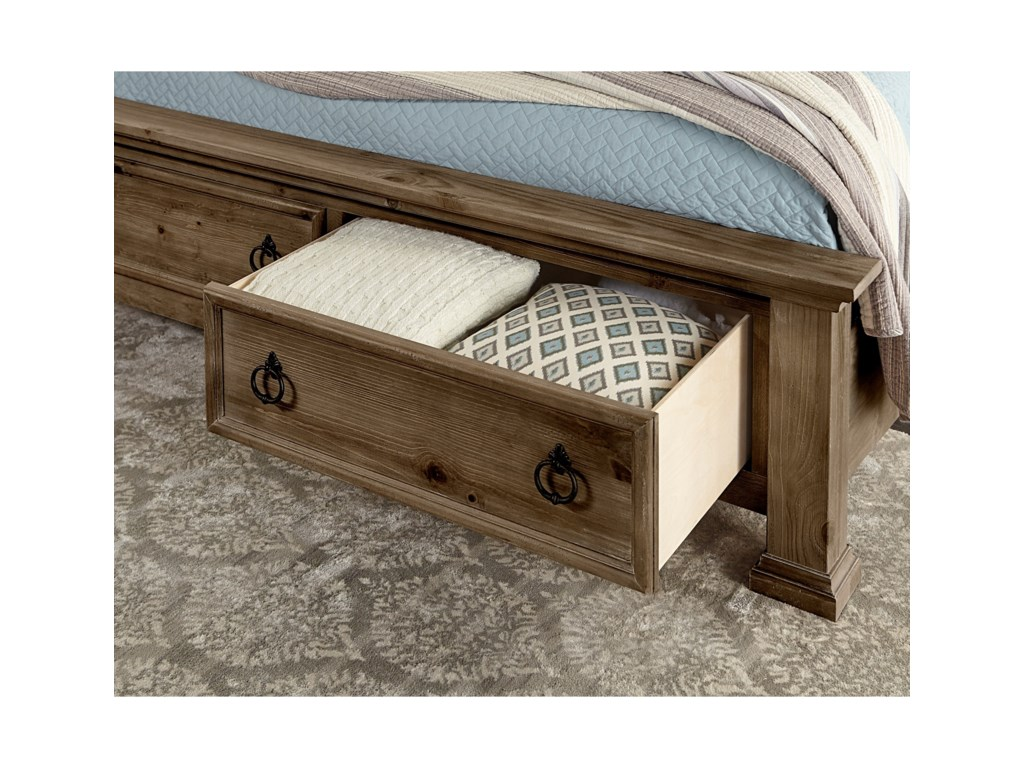 Vaughan Bassett Rustic HillsKing Poster Bed with Storage Footboard