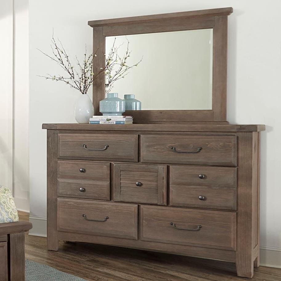 Vaughan Bassett Sawmill Transitional 7 Drawer Dresser And Mirror