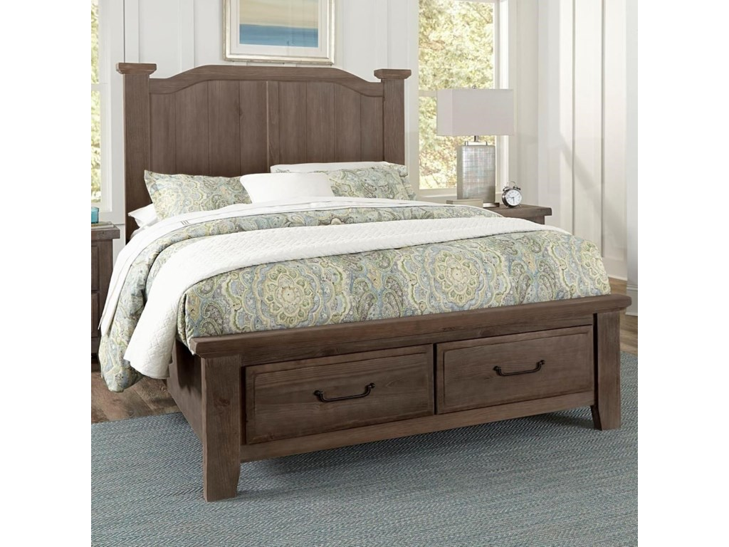 Vaughan Bassett SawmillQueen Arch Bed With Storage Footboard
