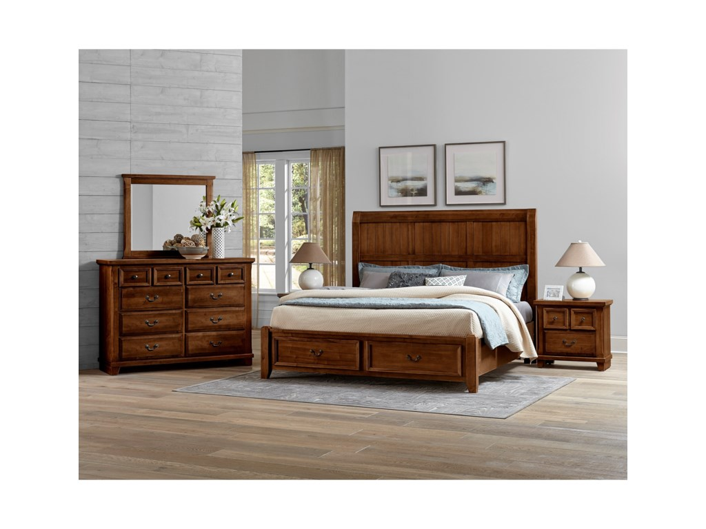 Vaughan Bassett Timber CreekQueen Timber Storage Bed