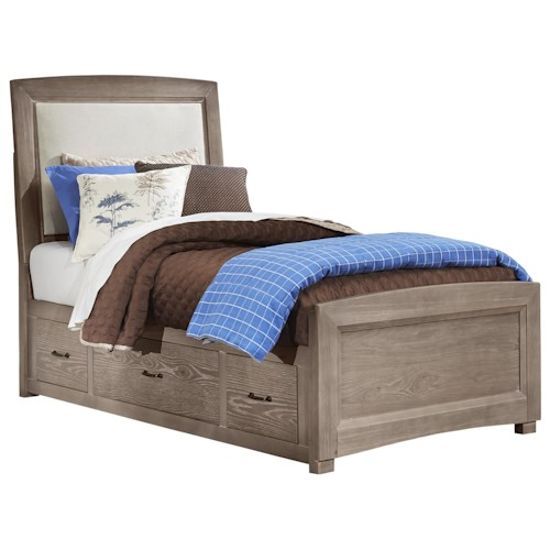 Vaughan Bassett Transitions Twin Upholstered Bed, Base Cloth Linen with Storage