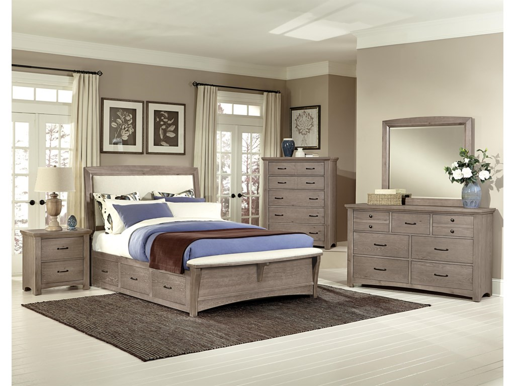 Vaughan Bassett TransitionsQueen Uph Bed with 2 Side Storage Units