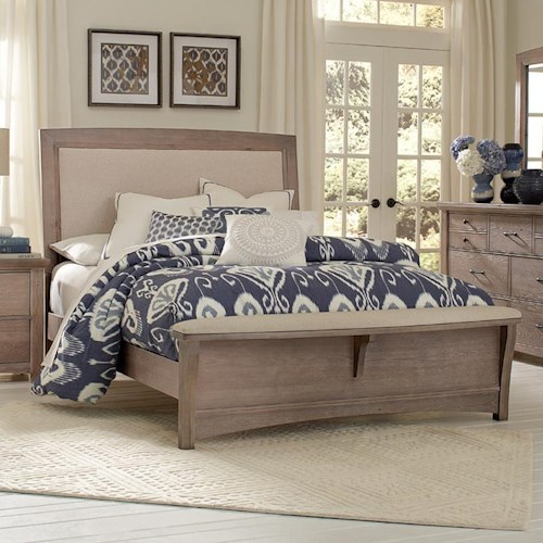 Vaughan Bassett Transitions King Upholstered Bed, Base Cloth Linen