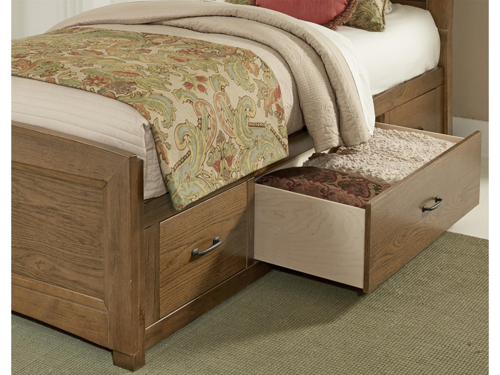 Vaughan Bassett TransitionsTwin Uph. Bed, Base Cloth Linen with Storage