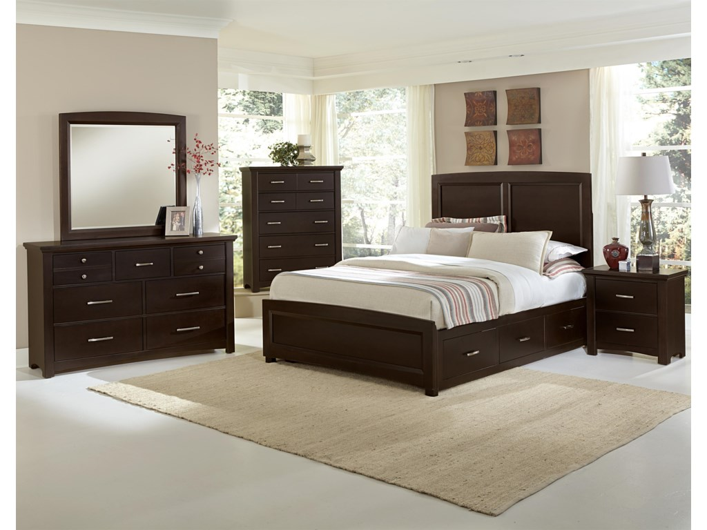 Vaughan Bassett TransitionsKing Panel Bed with 1 Side Storage