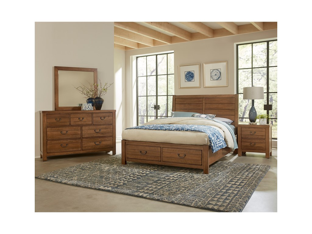 Vaughan Bassett Urban CrossingsKing Plank Storage Bed