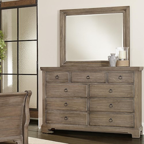 Vaughan Bassett Whiskey Barrel Distressed Finish Chesser - 9 Drawers & Landscape Mirror