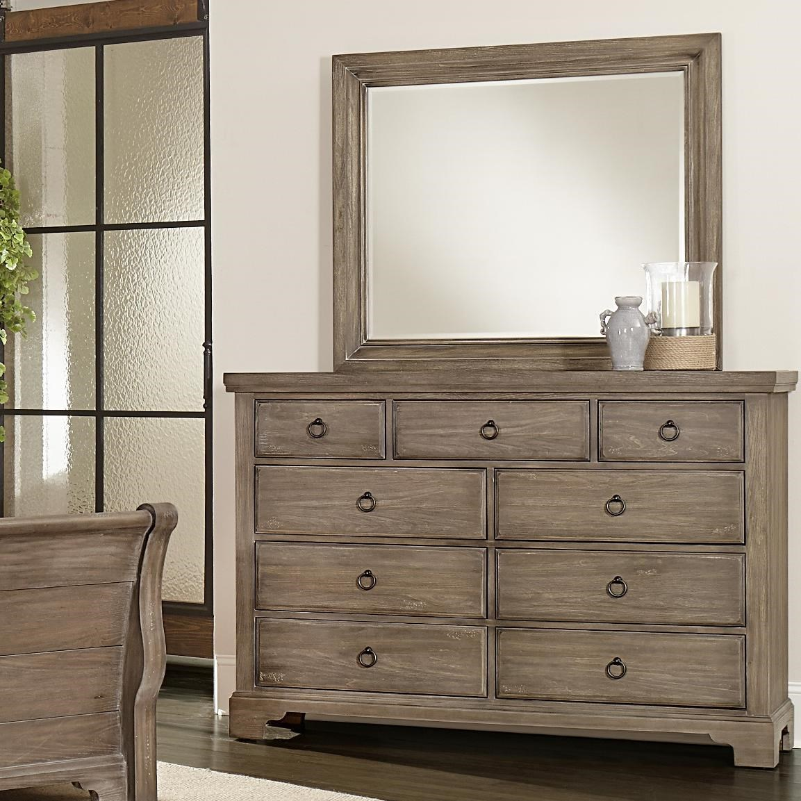 Exceptional Vaughan Bassett Whiskey Barrel Distressed Finish Chesser   9 Drawers U0026  Landscape Mirror
