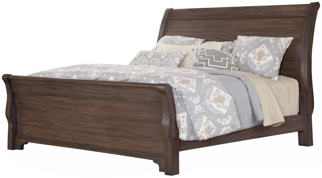 vaughan bassett whiskey barrel distressed queen sleigh bed with