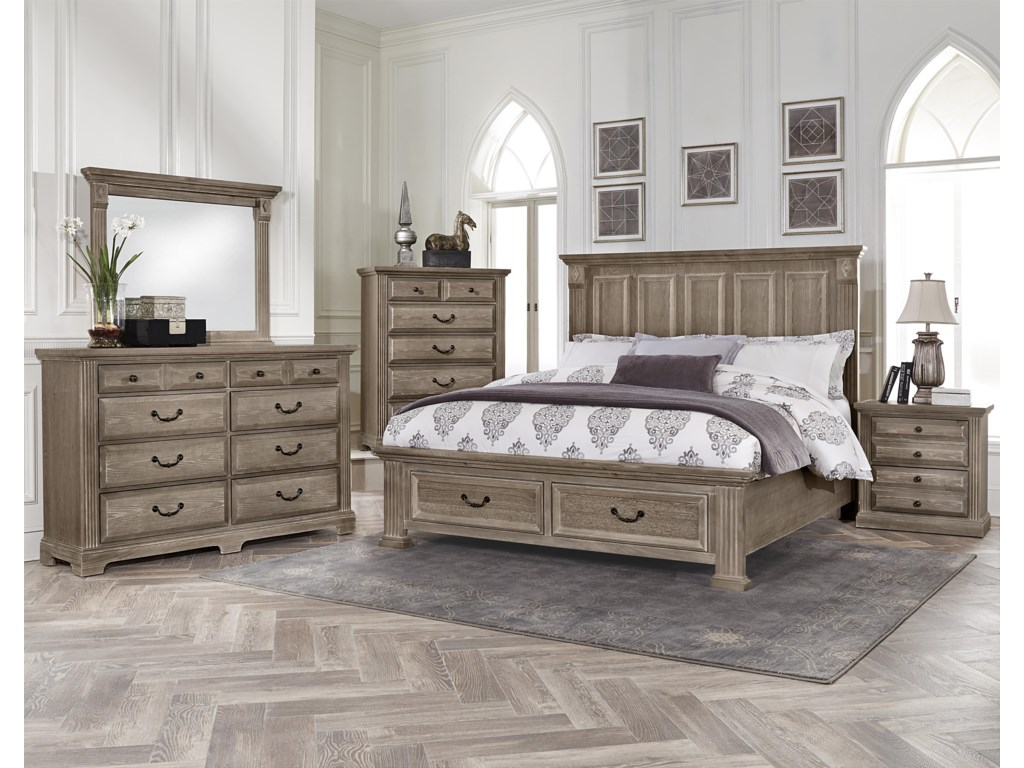 Vaughan Bassett WoodlandsQueen Mansion Storage Bed