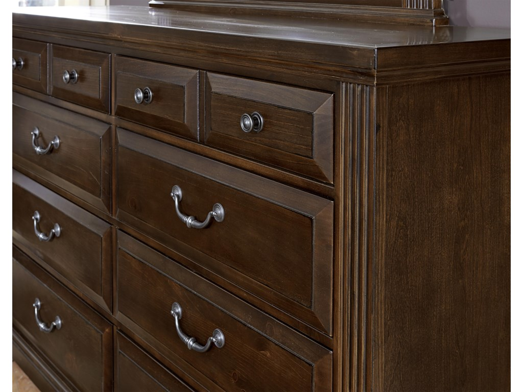 Vaughan Bassett WoodlandsTriple Dresser & Landscape Mirror