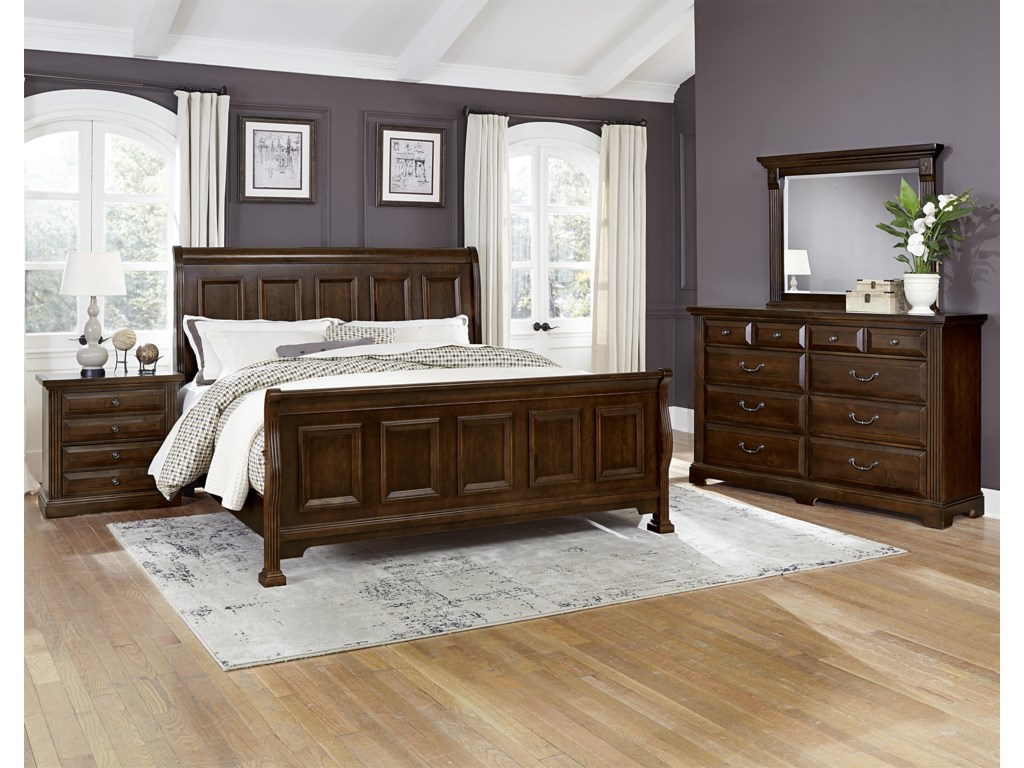 Vaughan Bassett WoodlandsQueen Sleigh Bed