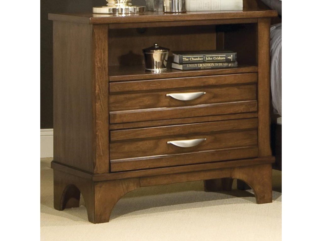 Vaughan Furniture RadianceNightstand with 2 Drawers and 1 Open Shelf